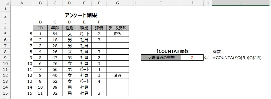 COUNTA関数の使用例