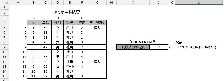 COUNTA関数の使用例