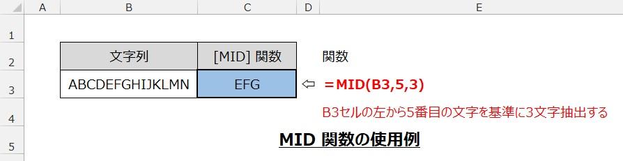 MID関数の使用例
