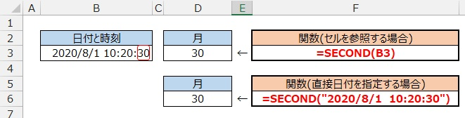 SECOND関数の使用例