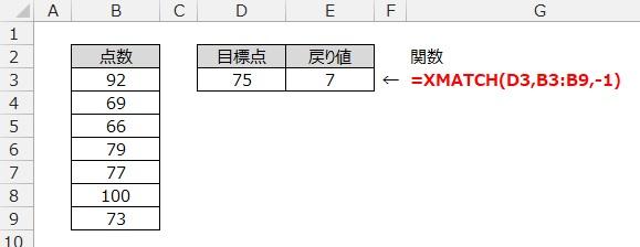 XMATCH関数の使用例3