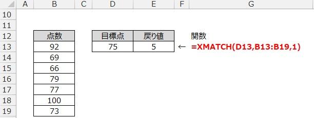 XMATCH関数の使用例4